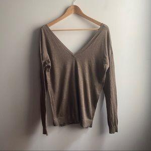 Zara taupe deep V-neck back lightweight sweater